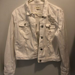 White Pacsun Distressed Denim Jacket